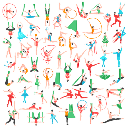 Gymnastics and ballet big set including dancers trapeze artists acrobats girls with sports tools isolated vector illustration Illustration