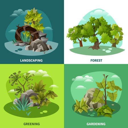 entertaining presentation: Landscape gardening 4 flat icons concept with forest tropical trees and front yard compositions isolated vector illustration