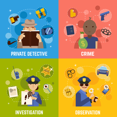 Private detective concept icons set with crime symbols flat isolated vector illustration