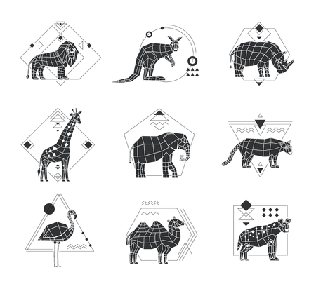 Monochrome polygonal set of six emblems with african animals and geometric pattern isolated on white background vector illustration Illustration