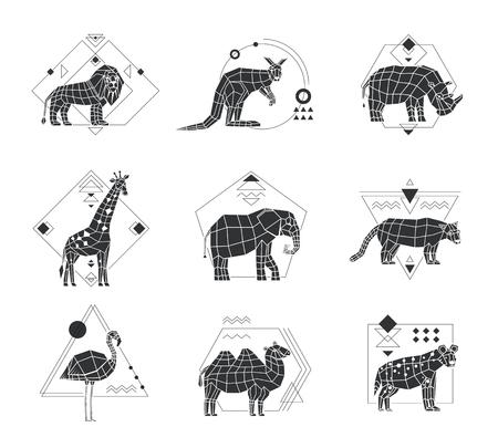 Zwart-wit veelhoekige reeks van zes emblemen met Afrikaanse dieren en geometrisch die patroon op witte vectorillustratie wordt geïsoleerd als achtergrond