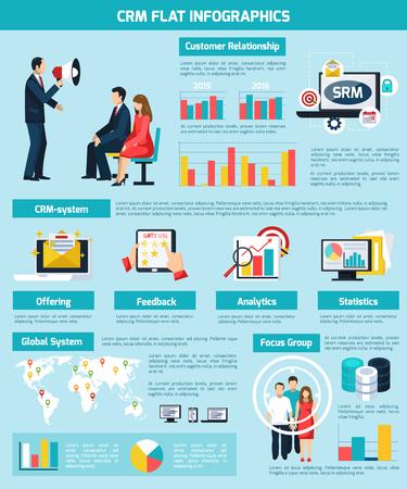 Customer relatioship infographic set with feedback and statistics symbols flat vector illustration Çizim