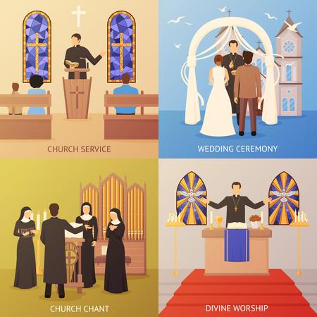 Kleurrijke religieuze 2x2 ontwerp concept set met kerkdienst en huwelijksceremonie plat geïsoleerde vectorillustratie
