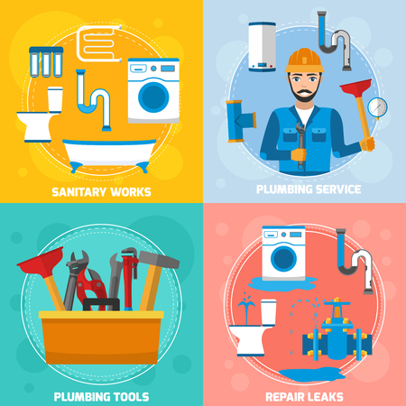Plumber 2x2 composition with flat images of sanitary technician character tubes repair leaks and plumbing tools vector illustration
