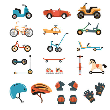 Child safety body protection sport equipment protective isolated images set with playcars bicycles kneecaps and helmets vector illustration