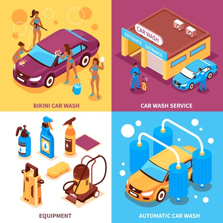 Car wash service isometric design concept with automatic cleaning girls workers in bikini equipment isolated vector illustration