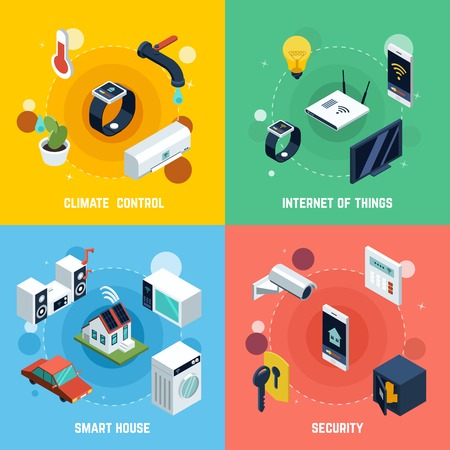 Smart home concept icons set with climate control symbols isometric isolated vector illustration