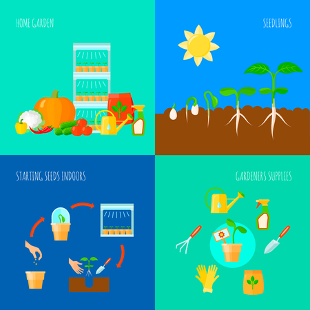 Seedling concept icons set with home garden  symbols flat isolated vector illustration Illustration