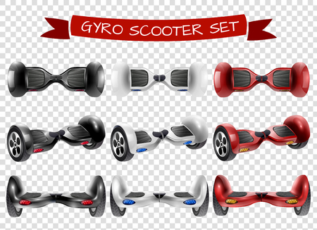 Realistic self-balancing gyro two-wheeled board scooter or hoverboard 3 colorful sets transparent background vector illustration Stock Vector - 79002159