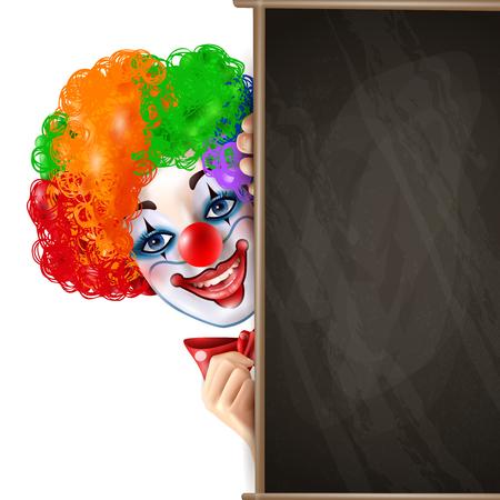 Het clown het glimlachen gezicht toont van achter de zwarte van de de reclameaffiche van de bord heldere kleurrijke samenstelling realistische vectorillustratie Stock Illustratie