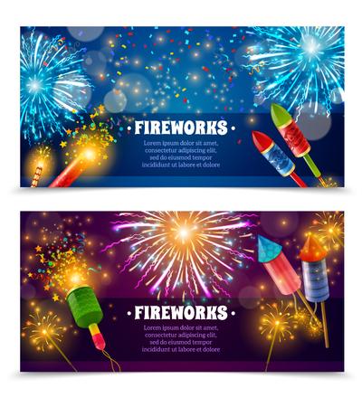Deux bannières horizontales de feu d'artifice festive sertie de fusées de pétards de texte et feux de Bengale de lumières indiennes isolées vector illustration