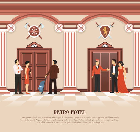 hotel staff: Retro elevator composition with people in hotel elevator hall interior and vintage lift doors with text vector illustration