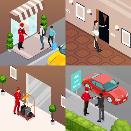 Hotel service 2x2 design concept set of doorman meeting visitors room cleaner valet parking isometric  compositions vector illustration