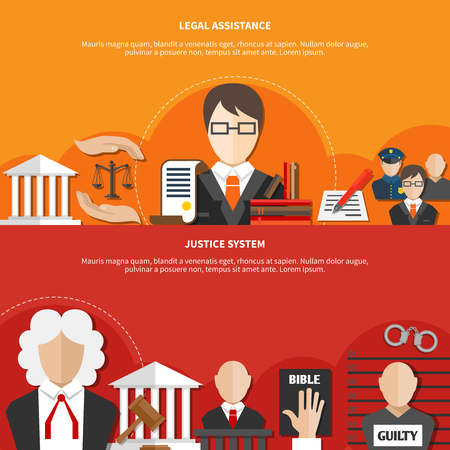 Two colored horizontal law banner set with legal assistance and justice system headline vector illustration