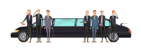 Intelligence agency flat composition with special services workers stand near representative limousine vector illustration Illusztráció