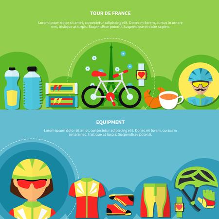 Bike horizontal banners set with tour de France symbols flat isolated vector illustration