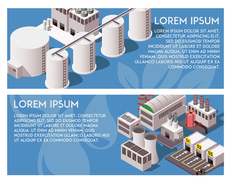 Two horizontal blue isometric banners with factory buildings 3d isolated vector illustration