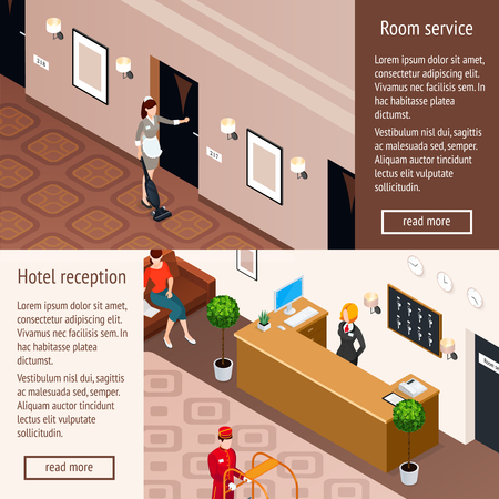 Hotel service horizontal banners set including hotel reception and room service isometric compositions vector illustration
