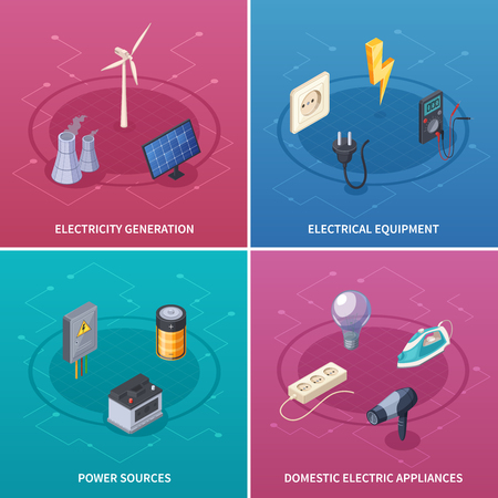 Electricity Concept Icons Set With Electrical Equipment Symbols