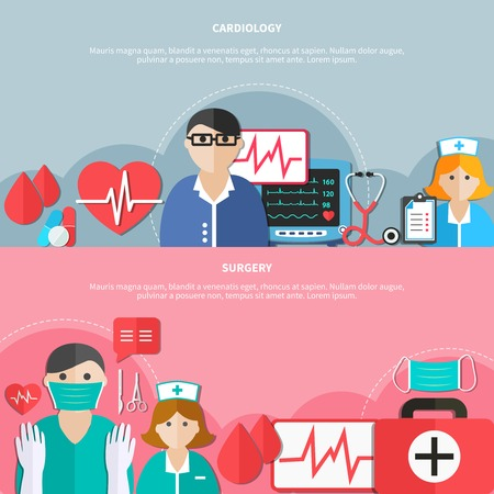Medicine horizontal flat banners with cardiology and surgery on grey and pink backgrounds isolated vector illustration