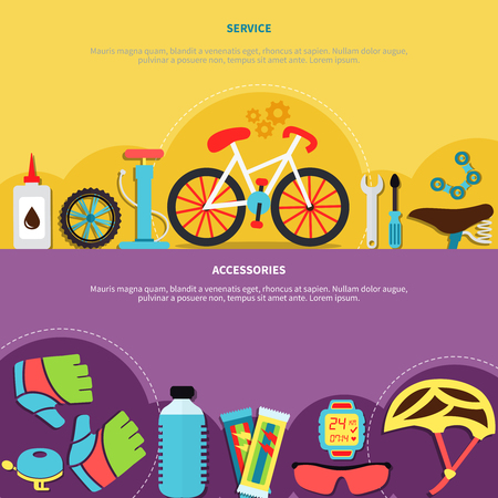 Bicycle horizontal banners set with service symbols flat isolated vector illustration