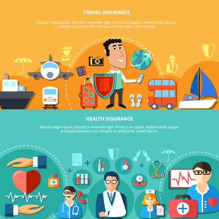Vacation and health insurance horizontal banners with medical care and travel elements in flat style vector illustration