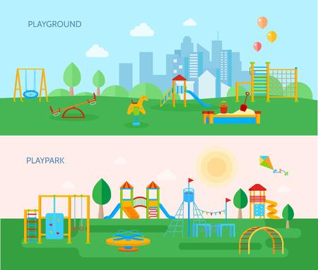 Twee horizontale speelplaats banners set met cartoon stijl platte beelden van playpark apparatuur bomen en landschap vector illustratie