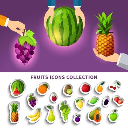 Colección de iconos de frutas con la composición de uva de piña sandía en manos sobre fondo púrpura aislado ilustración de vectores Foto de archivo - 79002207