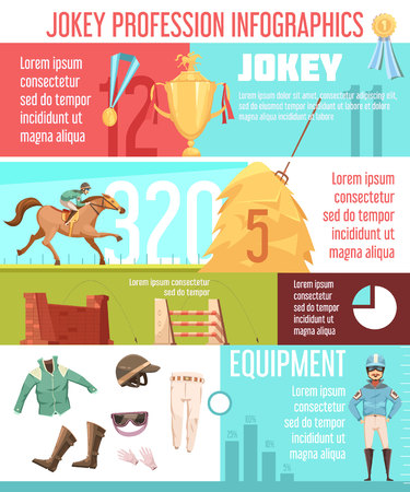 Jockey profession infographics layout with equestrian ammunition icons and horse riding information flat vector illustration Çizim