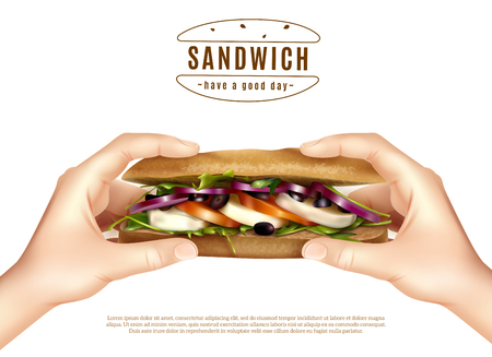 Healthy multi grain sandwich with mozzarella lettuce tomato onion in hands realistic advertisement white background poster vector illustration