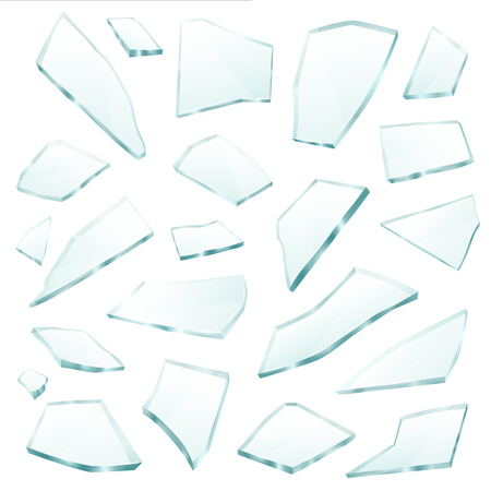 Broken plane transparent glass fragments shivers pieces shards various form and size collection realistic vector illustration Vectores