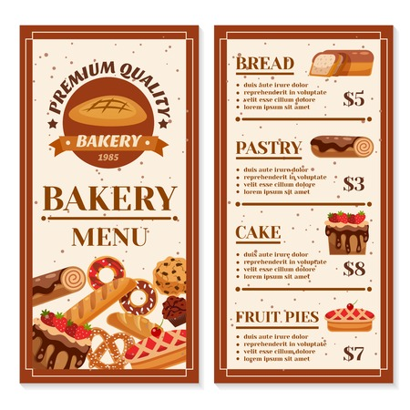 Bakery menu design with year of foundation at cover and product price list isolated vector illustration Illustration