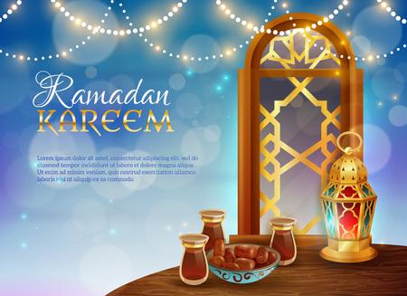 Ramadan kareem muslim holy month traditional festive food and light guirlande decorative background realistic poster vector illustration Illustration