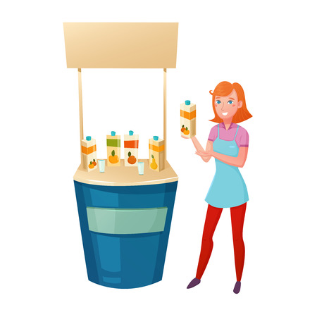 Healthy food promotion design concept with young girl standing near counter and offering tasting different juices vector illustration