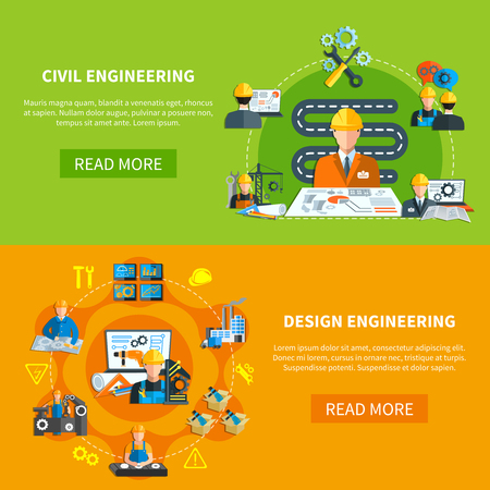 Engineering banners collection with construction projection pictograms and factory worker flat compositions with read more button vector illustration Фото со стока