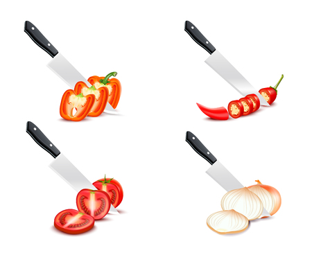 blade: Knife chopping vegetable 3d design with tomato paprika onion chili set on white background isolated vector illustration