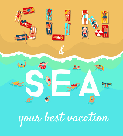 Summer sea beach vacation flat advertising poster with sunbathing diving and swimming people vector illustration Banco de Imagens