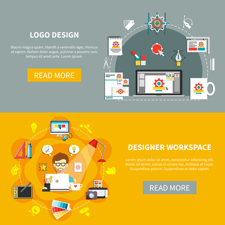 Conjunto de herramientas de diseño de banner con diseño de logotipo y descripciones de área de trabajo de diseñador con leer más botones ilustración vectorial Foto de archivo - 79002248