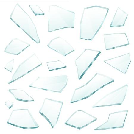 壊れた平面透明ガラスの破片震え断片破片様々 な形とサイズのコレクション現実的ベクトル図
