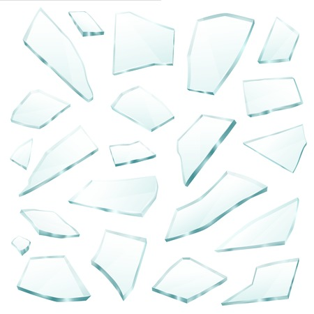 Broken plane transparent glass fragments shivers pieces shards various form and size collection realistic vector illustration Фото со стока