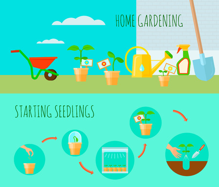 pesticides: Seedling horizontal banners set with home gardening symbols flat isolated vector illustration