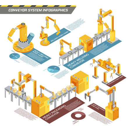 information equipment: Conveyor system isometric infographics with information about equipment for welding and packaging on white background vector illustration