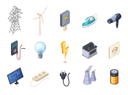 Electricity isometric icons set with socket and battery isolated vector illustration