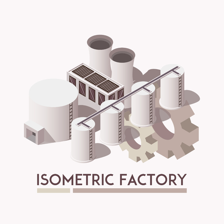 Isometric set of factory chimneys and industrial constructions on light background 3d vector illustration Illustration