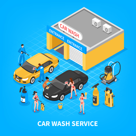 Car wash service with garage equipment workers and girls in bikini on blue background isometric vector illustration Illustration