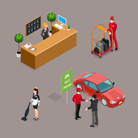 Hotel service isometric icons set with taxi driver visitor cleaner reception manager figurines isolated vector illustration Stock Vector - 79041536