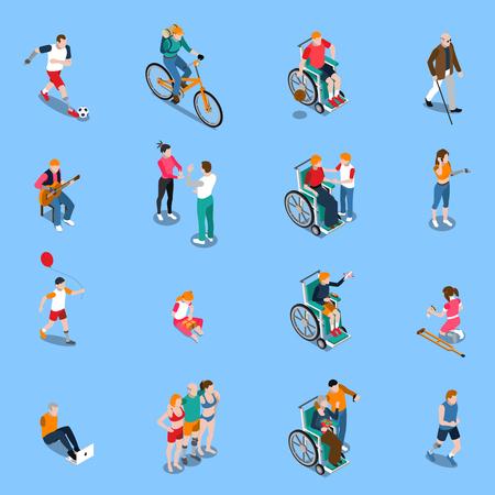 障害者大人と子供スポーツ音楽分離ベクトル図を含む様々 な活動に等尺性セット  イラスト・ベクター素材