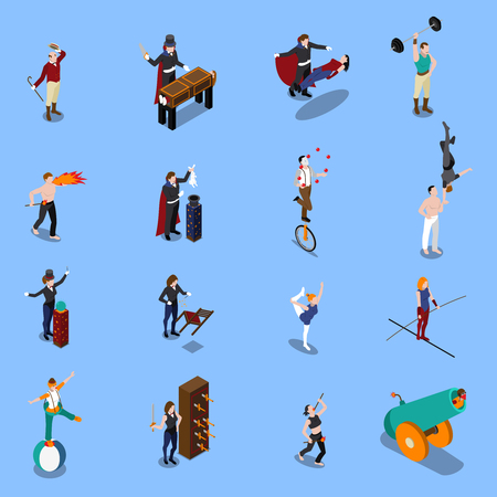 People from magic show isometric set with illusionist strongman gymnasts juggler artist with fire isolated vector illustration Illustration