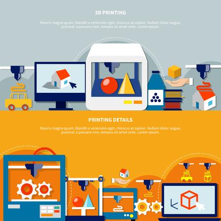 Horizontale die banners met decoratieve pictogrammen op thema van 3d druk en verschillende verbruiksgoederen en details vlakke vectorillustratie worden geplaatst Stock Illustratie