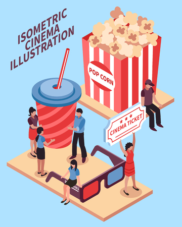 Cinema isometric design concept with popcorn cola 3d glasses signs and viewers figurines vector illustration